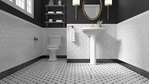 bathroom tiles black and white. Perfect Black Black And White Penny Tile In Bathroom Tiles Black And White I