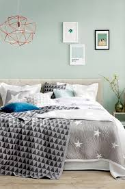 mint, watery blue/green walls, grey accents, comfy bed,i like the star  quilt // bedroom: