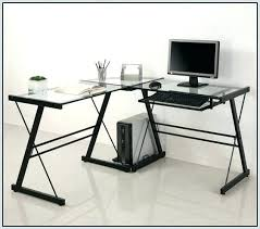 glass corner office desk. Glass Corner Office Desk Wicker With Top Staples Home L Shaped Workstation U R