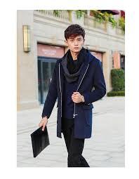 solid hooded woolen coat men big pocket design winter jacket men outwear slim fit mid long trench