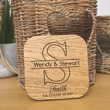 Wedding Coasters Personalised Initial Wedding Coasters Table Favours Decorations Oak