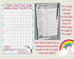 Unicorn Earn Ipad Tablet Screen Xbox Time Chart Chore Goal Chart Dry Erase Laminated Visual Chart Girl Screen Time Responsibility