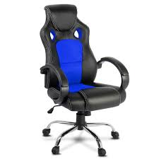 msn office. Racing Style PU Leather Office Chair - Blue Msn D