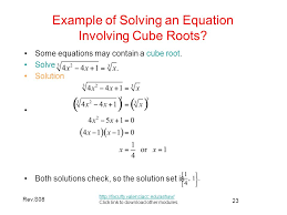example of solving an equation involving cube roots