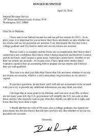 Rumsfeld Tax Day Letter