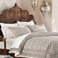 Taupe Bedroom Decorating Taupe Block Print Duvet Shams Set Wooden Headboards India And