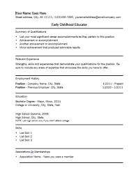 Early Childhood Education Resume 12 Suiteblounge Com
