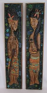pair of vintage witco large carved fabric wall art panels rare 1960 s tiki on antique cloth wall art with pair of vintage witco large carved fabric wall art panels rare