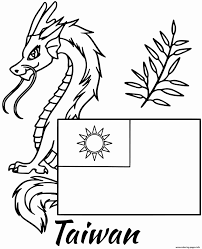 Child's drawing with a dragon and a knight. Austria Flag Coloring Page New Taiwan Flag Dragon Coloring Pages Printable Meriwer Coloring