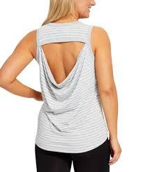 Yogalicious Size Chart Yogalicious Heather Gray White Stripe Cutout Drape Back Tank Women
