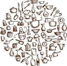 Kitchen utensils sketch drawing for your design Stock Vector