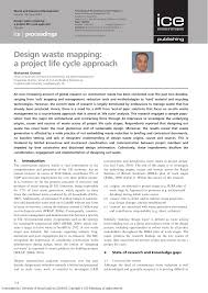 Loughborough University Architectural Engineering And Design Management Design Waste Mapping A Project Life Cycle Approach Topic