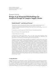 Design Of Supply Chain Systems Pdf Design Of An Integrated Methodology For Analytical