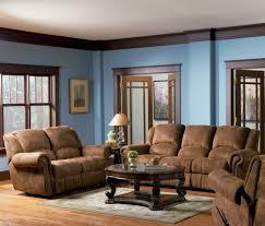 living room blue Brown walls Brown furniture