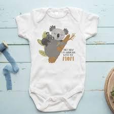 Koala Baby Shoes Size Chart Not Now Im Hanging W My Mom Koala Baby Clothes Baby Bodysuit Custom Shirt For Babies Baby Onesie Idea Unisex Baby Clothing