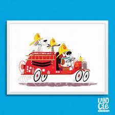 firefighter wall art dog firetruck art print vintage fire design ideas of fire truck wall art