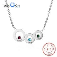 details about personalised jewellery birthstone name necklaces custom round circle pendants