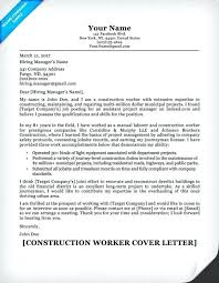 Construction Worker Cover Letter Examples Construction Cover Letter