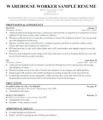 Warehouse Resume Resume Cv Cover Letter