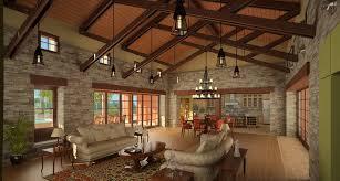 Yellow and Light Green Light on Interior Design Rendering