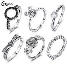 <b>CUTEECO</b> Rose Gold Silver Zircon Engagement Ring <b>Crystal</b> ...