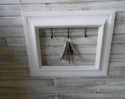 Picture Frame Key Holder- White Key Rack - Framed Jewelry Holder - White  Framed Key