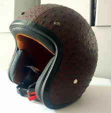 leather motorcycle helmet vintage type with dot
