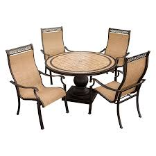 hanover outdoor furniture monaco 5 piece tan metal frame patio dining set