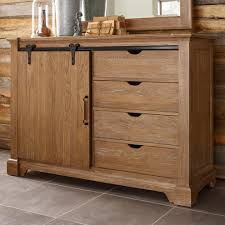 Transitional Rustic Sliding Barn Door Media Chest with Clothing