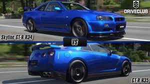 Driveclub: Nissan Skyline GT-R R34 V-Spec II vs. Nissan GT-R R35 ...