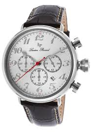 lucien piccard men s trieste 46mm genuine leather band quartz lucien piccard trieste gmt chronograph mens watch 72415 02s