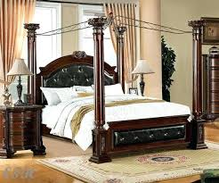 Canopy Beds Wooden White Queen Bed Poster Transitional Inside ...