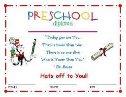 Prek Diploma Dr Seuss Preschool Diploma 1 Kids Preschool Preschool