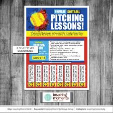 Softball Pitching Lessons Event Flyer Printable Baseball Pitching Lessons School Flyer Fundraiser Education Flyer Design Handout