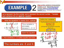 3 let a represent the first number and b represent the second number translate each sentence into an algebraic equation