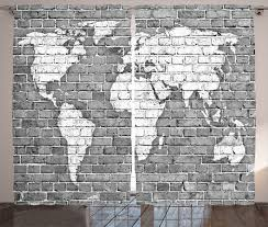 wander decor curtains 2 panels set world map on old brick wall construction grunge antique stained abstract living room bedroom accessories