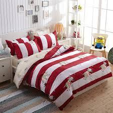 full size of kids student red white striped cartoon zebra printed bedding set duvet cover bed