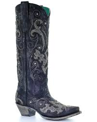 zoomed image corral women s tall studded overlay crystals cowgirl boots snip toe black