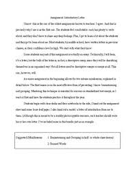 Introductory Letter Introductory Letter With Directions Minilessons Model Rubric