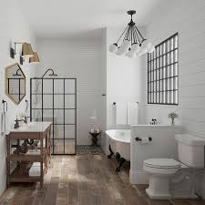 Wood tile flooring bathroom Porcelain Farmhouse Modern Bathroom With Woodlook Tile Floors Lowes 2018 Bath Tile Trends Youll Love
