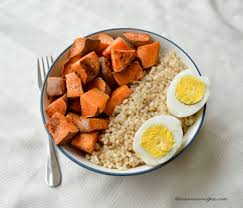 brown rice in a bowl. Plain Bowl Gluten Free Vegetarian Sweet Potato Brown Rice Bowl For In A B