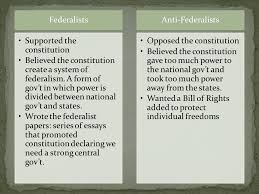 lesson the constitution and the bill of rights ppt  federalists supported the constitution believed the constitution create a system of federalism