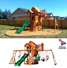 kids garden play house outdoor slide