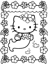 Hello Kitty Cute Mermaid Coloring Pages Cartoon Coloring Pages