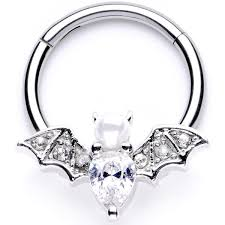 16 Gauge 3/8 Clear Gem Vampire <b>Bat Halloween</b> Hinged Segment ...