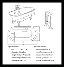 inch acrylic double ended bathtub chart standard tub sizes clawfoot dimensions claw foot standard tub dimensions bathtub
