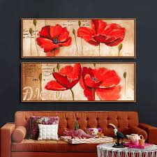 modern hand painted canvas print red poppy flower sea picture poster wall art canvas decorative pictures duvar tablolar in painting calligraphy from home