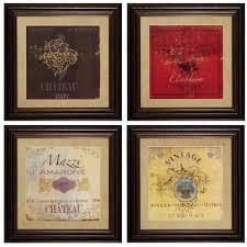 four piece wine framed wall art set