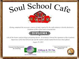 soul school cafe receive a diploma in soul music from the soul  upon successfully completing the exam you will be awarded a diploma from the soul school cafe in soul music