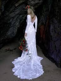 Ivory Long Sleeve Rustic Wedding Dresses Backless Sheath Beach Wedding  Dress – SheerGirl